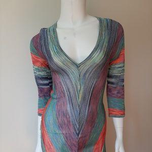 Trina Turk Dresses - Trina Turk Deep V-Neck Sheer Fitted Midi Dress